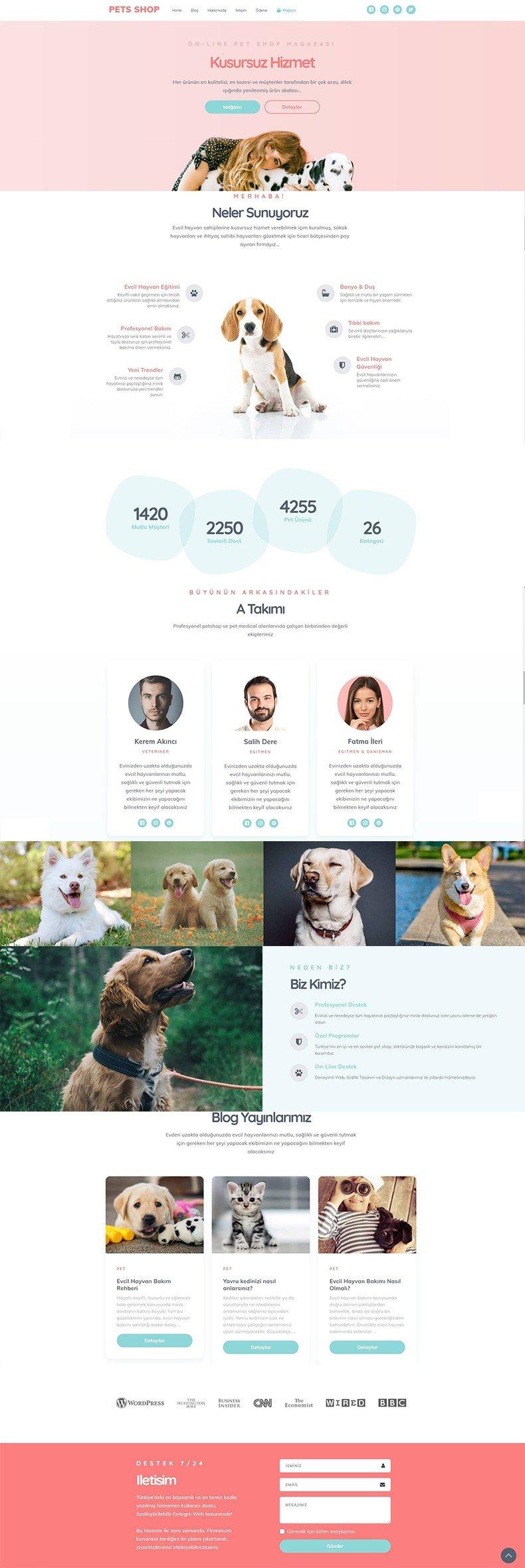 Pets Shop Web Tasarım